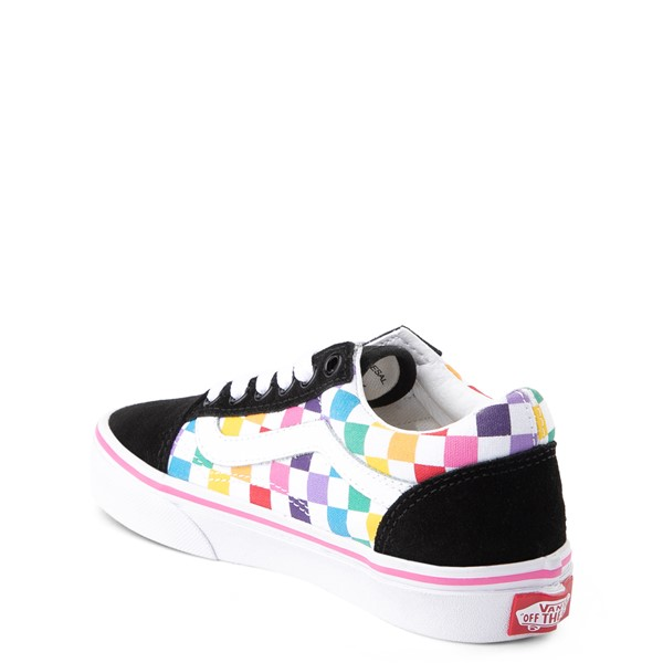 alternate view Vans Old Skool Rainbow Checkerboard Skate Shoe - Little Kid - Black / MultiALT1