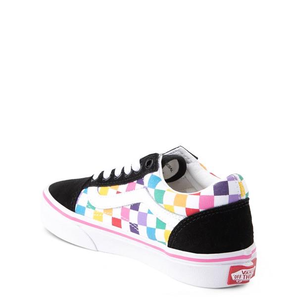 alternate view Vans Old Skool Rainbow Checkerboard Skate Shoe - Little Kid - Black / MulticolorALT1