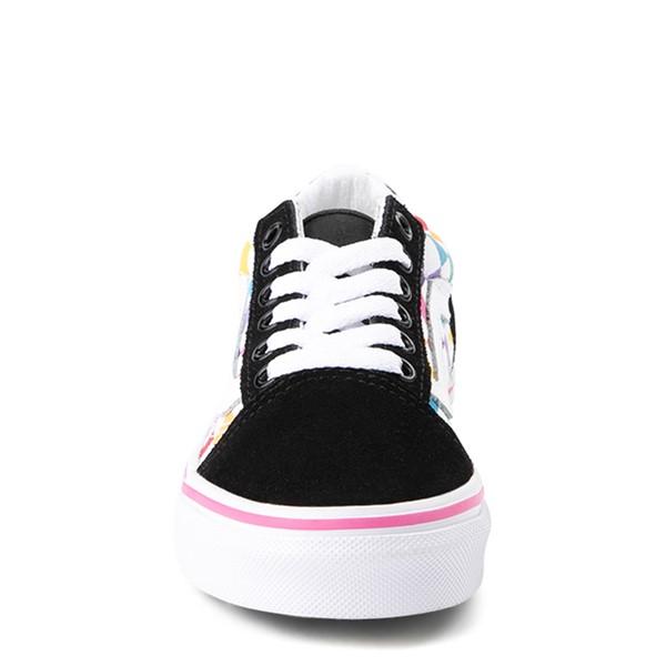 alternate view Vans Old Skool Rainbow Checkerboard Skate Shoe - Little Kid - Black / MulticolorALT4