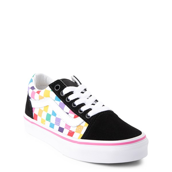alternate view Vans Old Skool Rainbow Checkerboard Skate Shoe - Little Kid - Black / MulticolorALT5