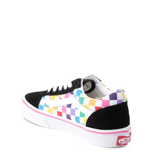 alternate view Vans Old Skool Rainbow Checkerboard Skate Shoe - Little Kid - Black / MultiALT2