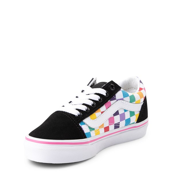 alternate view Vans Old Skool Rainbow Checkerboard Skate Shoe - Little Kid - Black / MultiALT3