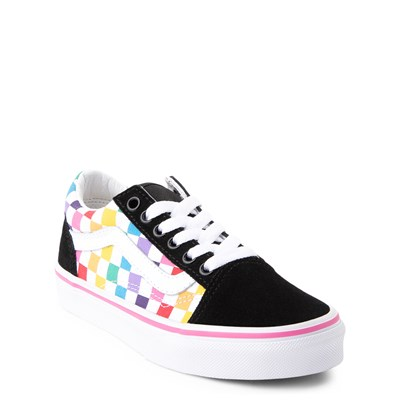 Alternate view of Vans Old Skool Rainbow Checkerboard Skate Shoe - Little Kid - Black / Multi