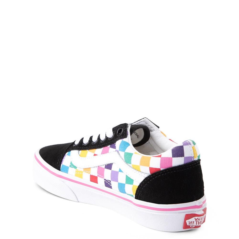 Vans Old Skool Rainbow Checkerboard Skate Shoe Little Kid Black Multi