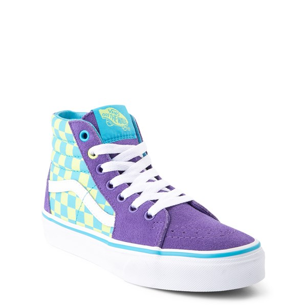 alternate view Vans Sk8 Hi Checkerboard Skate Shoe - Little Kid / Big Kid - Violet / CyanALT1