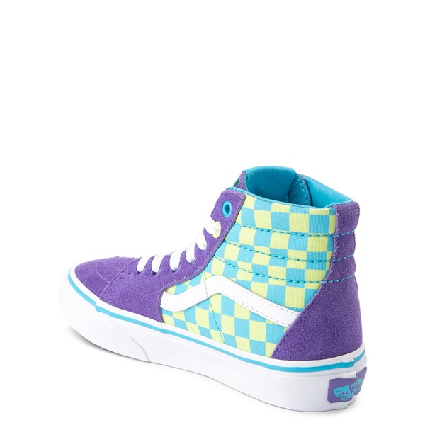 alternate view Vans Sk8 Hi Checkerboard Skate Shoe - Little Kid / Big Kid - Violet / CyanALT2