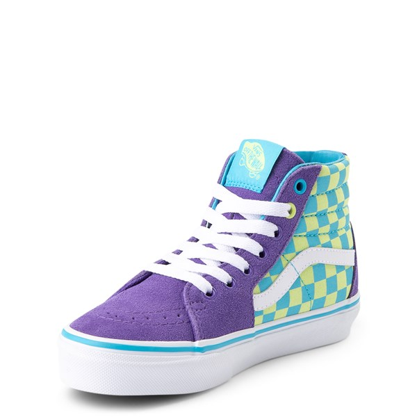 alternate view Vans Sk8 Hi Checkerboard Skate Shoe - Little Kid / Big Kid - Violet / CyanALT3