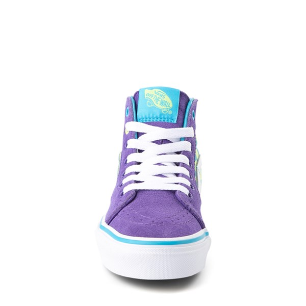 alternate view Vans Sk8 Hi Checkerboard Skate Shoe - Little Kid / Big Kid - Violet / CyanALT4