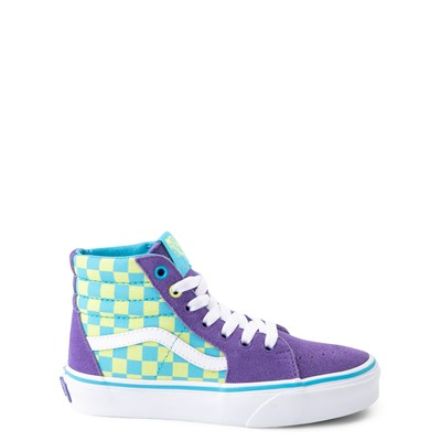 Main view of Vans Sk8 Hi Checkerboard Skate Shoe - Little Kid / Big Kid - Violet / Cyan