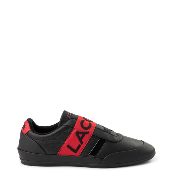 Mens Lacoste Misano Slip On Athletic Shoe - Black / Red
