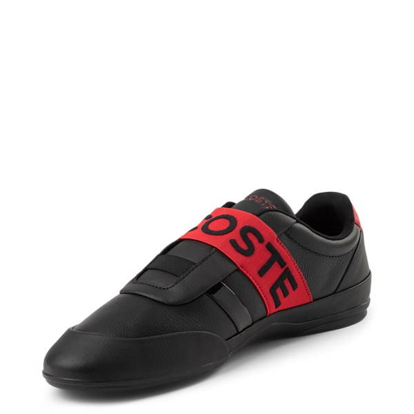 alternate view Mens Lacoste Misano Slip On Athletic Shoe - Black / RedALT3