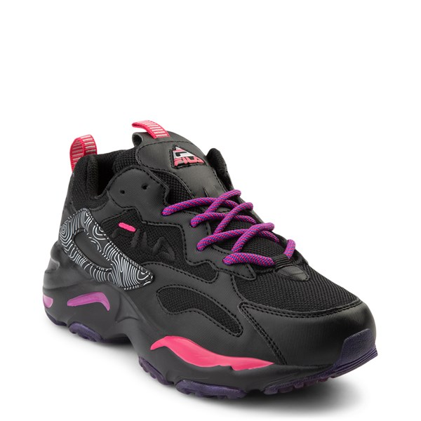 alternate view Womens Fila Ray Tracer Athletic Shoe - Black / Pink / PurpleALT1