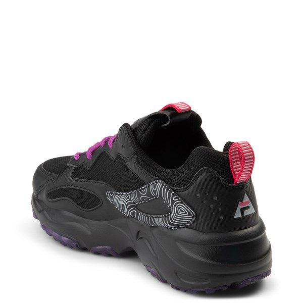 alternate view Womens Fila Ray Tracer Athletic Shoe - Black / Pink / PurpleALT2