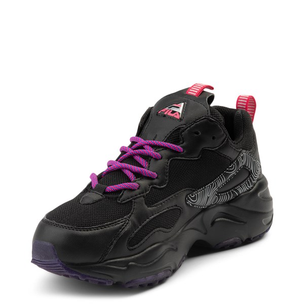 alternate view Womens Fila Ray Tracer Athletic Shoe - Black / Pink / PurpleALT3