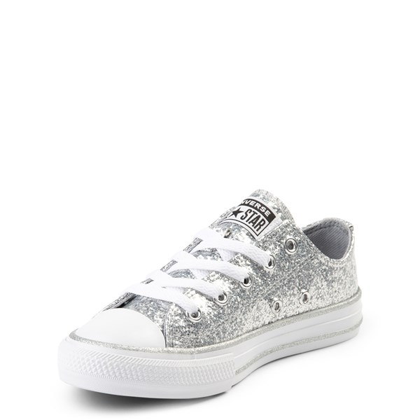alternate view Converse Chuck Taylor All Star Lo Glitter Sneaker - Little Kid - SilverALT3