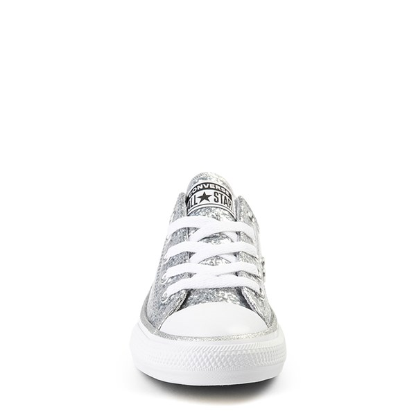 alternate view Converse Chuck Taylor All Star Lo Glitter Sneaker - Little Kid - SilverALT4