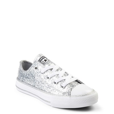 Alternate view of Converse Chuck Taylor All Star Lo Glitter Sneaker - Little Kid - Silver