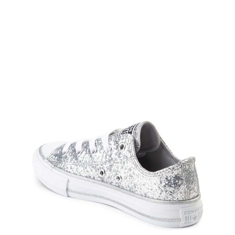Converse Chuck Taylor All Star Lo Glitter Sneaker Little Kid Silver