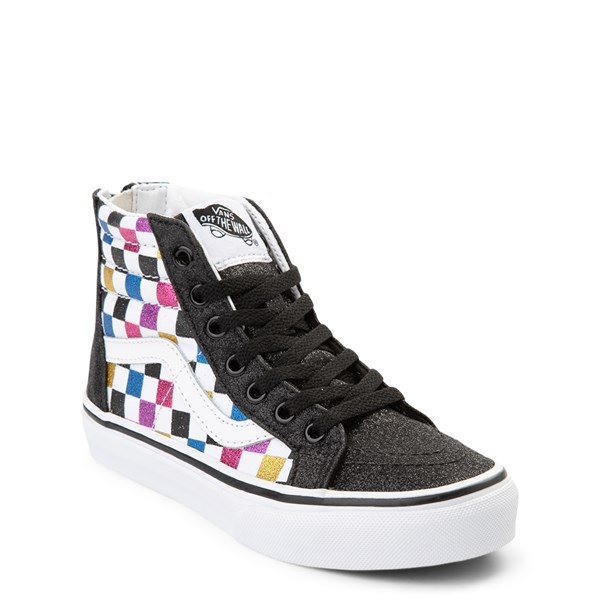 alternate view Vans Sk8 Hi Zip Glitter Checkerboard Skate Shoe - Little Kid / Big Kid - Black / MultiALT1