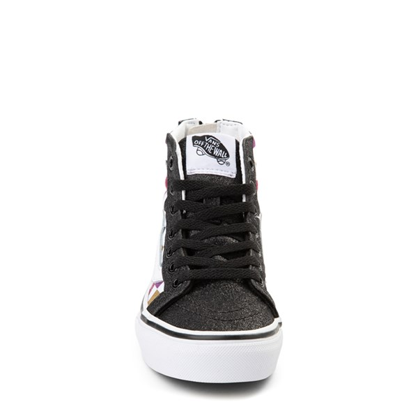 alternate view Vans Sk8 Hi Zip Glitter Checkerboard Skate Shoe - Little Kid / Big Kid - Black / MultiALT4