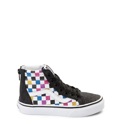 Main view of Vans Sk8 Hi Zip Glitter Chex Skate Shoe - Little Kid / Big Kid
