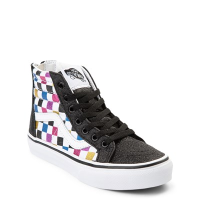 Alternate view of Vans Sk8 Hi Zip Glitter Chex Skate Shoe - Little Kid / Big Kid