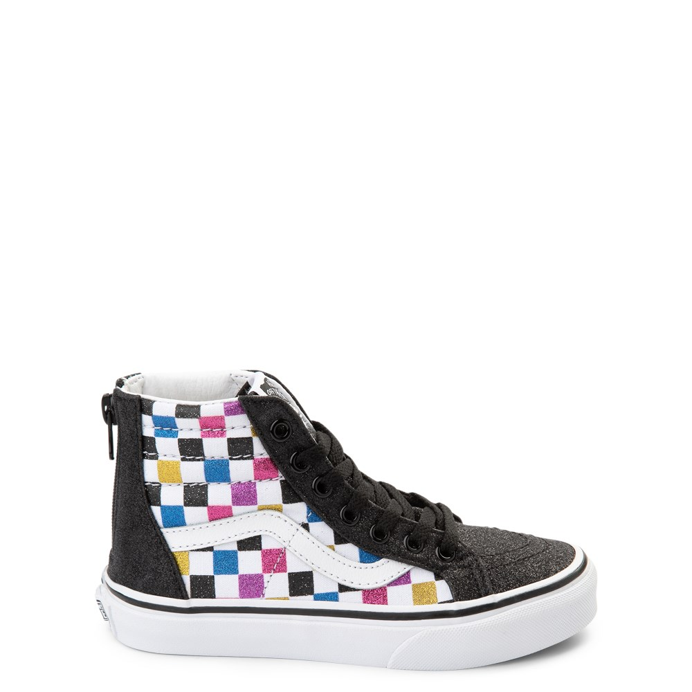Vans Sk8 Hi Zip Glitter Checkerboard Skate Shoe - Little Kid / Big Kid
