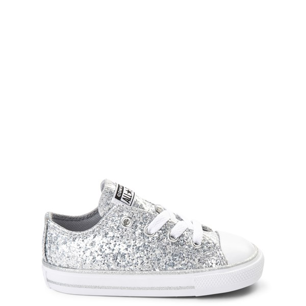 Default view of Converse Chuck Taylor All Star Lo Glitter Sneaker - Baby / Toddler - Silver