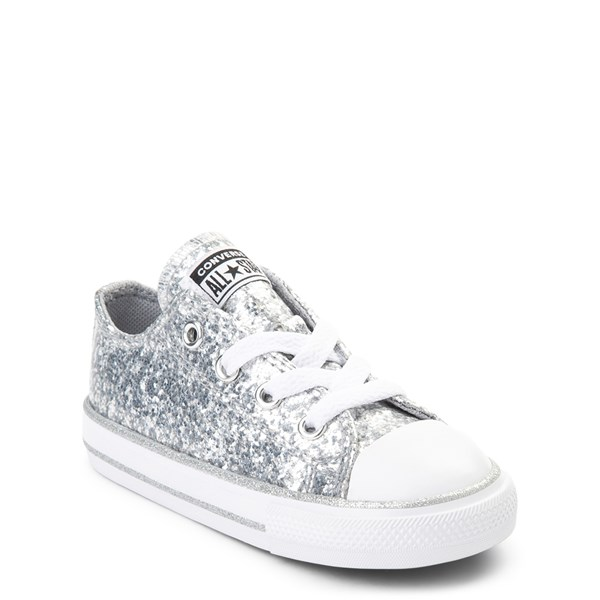 Alternate view of Converse Chuck Taylor All Star Lo Glitter Sneaker - Baby / Toddler - Silver