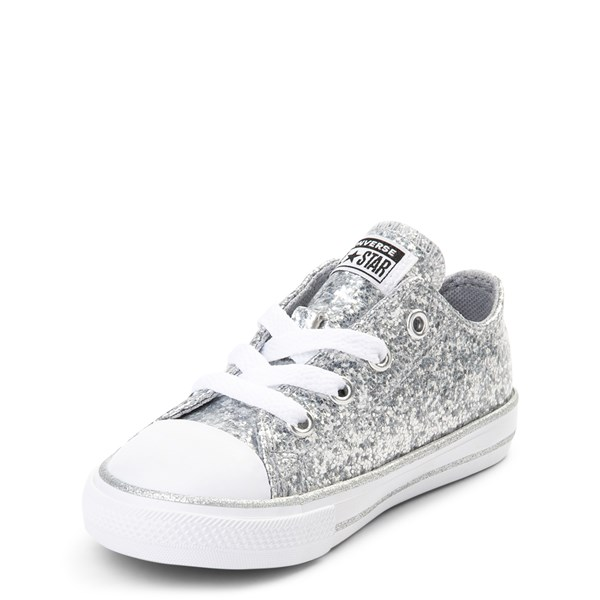 alternate view Converse Chuck Taylor All Star Lo Glitter Sneaker - Baby / Toddler - SilverALT3