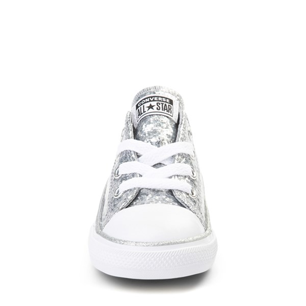alternate view Converse Chuck Taylor All Star Lo Glitter Sneaker - Baby / Toddler - SilverALT4