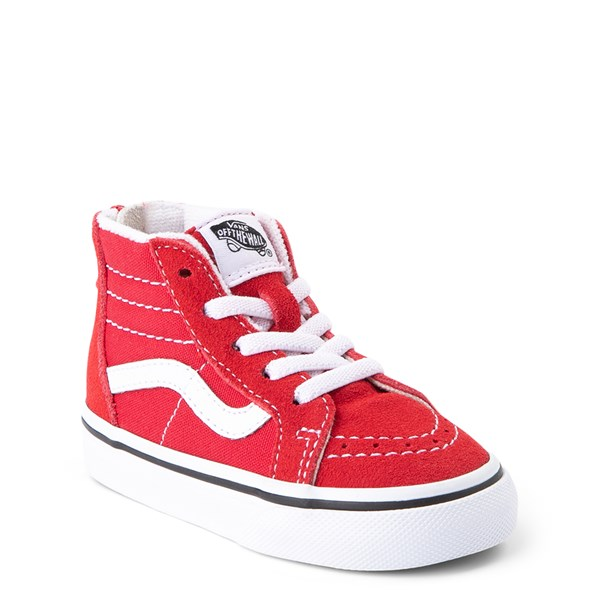 alternate view Vans Sk8 Hi Zip Skate Shoe - Baby / Toddler - Racing RedALT1