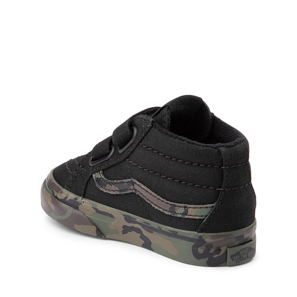 alternate view Vans Sk8 Mid V Skate Shoe - Baby / Toddler - Black / CamoALT1