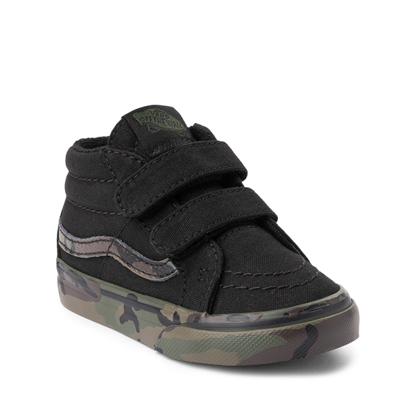 alternate view Vans Sk8 Mid V Skate Shoe - Baby / Toddler - Black / CamoALT5