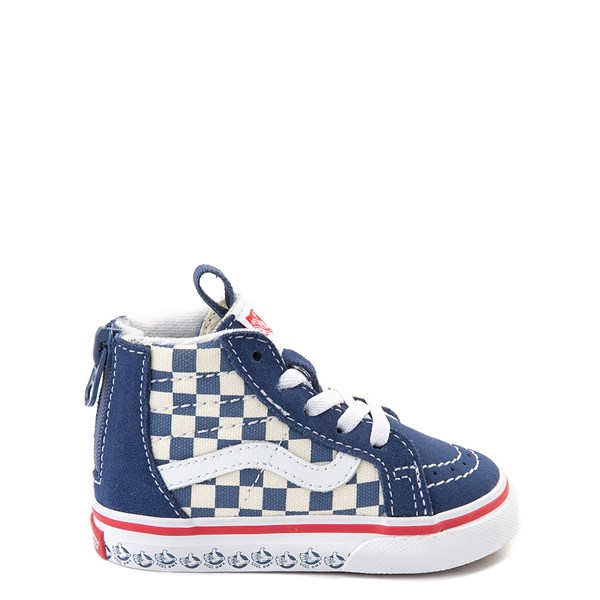 Default view of Vans Sk8 Hi Zip BMX Checkerboard Skate Shoe - Baby / Toddler - Blue / White