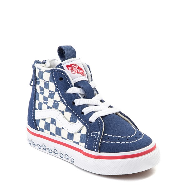 alternate view Vans Sk8 Hi Zip BMX Checkerboard Skate Shoe - Baby / Toddler - Blue / WhiteALT1