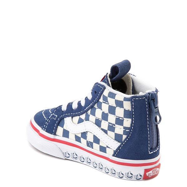alternate view Vans Sk8 Hi Zip BMX Checkerboard Skate Shoe - Baby / Toddler - Blue / WhiteALT2