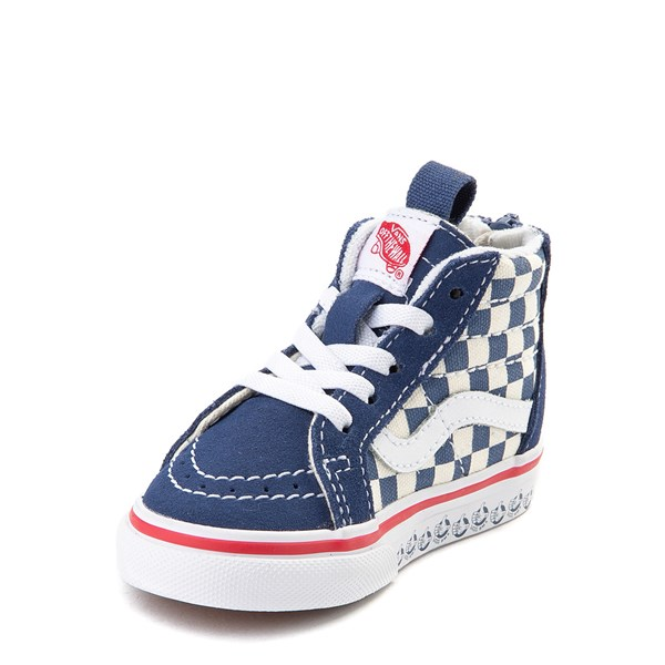 alternate view Vans Sk8 Hi Zip BMX Checkerboard Skate Shoe - Baby / Toddler - Blue / WhiteALT3