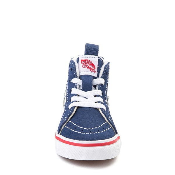 alternate view Vans Sk8 Hi Zip BMX Checkerboard Skate Shoe - Baby / Toddler - Blue / WhiteALT4