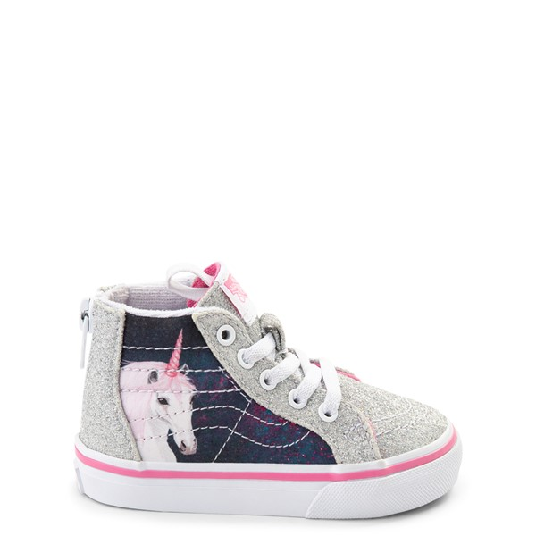 Default view of Vans Sk8 Hi Zip Unicorn Skate Shoe - Baby / Toddler - Silver / Multi