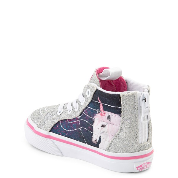 Alternate view of Vans Sk8 Hi Zip Unicorn Skate Shoe - Baby / Toddler - Silver / Multi