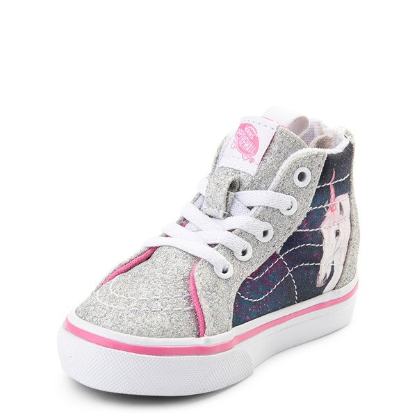 alternate view Vans Sk8 Hi Zip Unicorn Skate Shoe - Baby / Toddler - Silver / MultiALT2