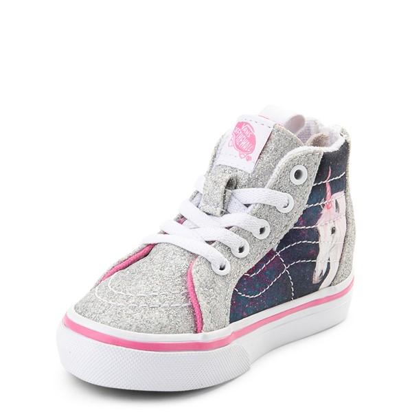 alternate view Vans Sk8 Hi Zip Unicorn Skate Shoe - Baby / Toddler - Silver / MultiALT2