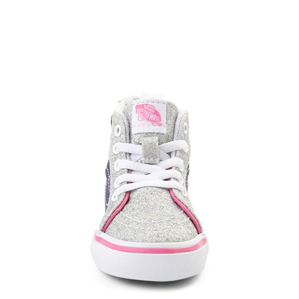alternate view Vans Sk8 Hi Zip Unicorn Skate Shoe - Baby / Toddler - Silver / MultiALT4