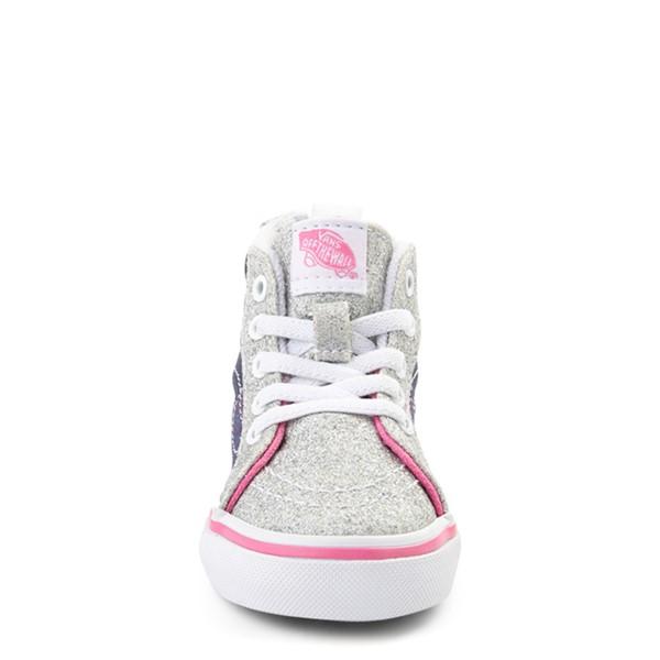 alternate view Vans Sk8 Hi Zip Unicorn Skate Shoe - Baby / Toddler - Silver / MultiALT4