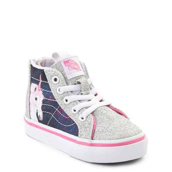 alternate view Vans Sk8 Hi Zip Unicorn Skate Shoe - Baby / Toddler - Silver / MultiALT5