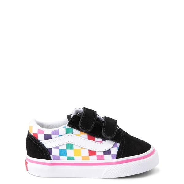 Main view of Vans Old Skool V Rainbow Checkerboard Skate Shoe - Baby / Toddler - Black / Multi