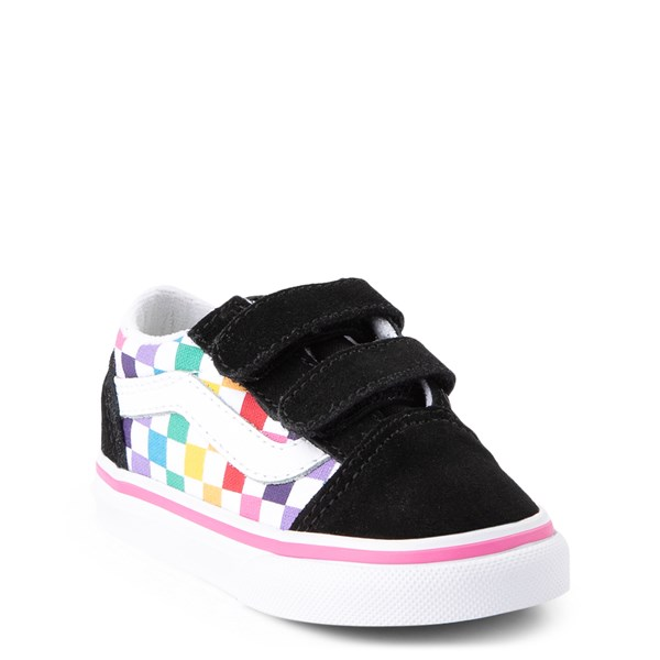 alternate view Vans Old Skool V Rainbow Checkerboard Skate Shoe - Baby / Toddler - Black / MultiALT1