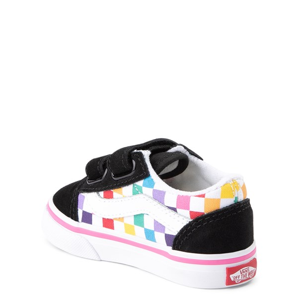alternate view Vans Old Skool V Rainbow Checkerboard Skate Shoe - Baby / Toddler - Black / MultiALT2