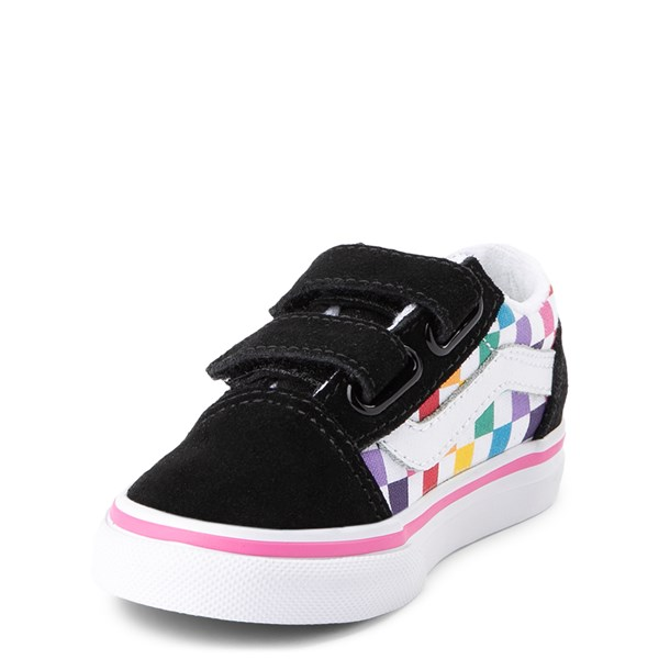 alternate view Vans Old Skool V Rainbow Checkerboard Skate Shoe - Baby / Toddler - Black / MultiALT3